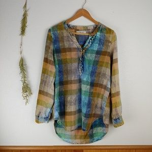 Anthro Isabella Sinclair Bleached/Distressed Plaid